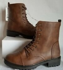 Women's Kamryn Faux Leather Combat Boot Brown Size 9.5 - Universal Thread