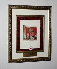 RONALD REAGAN WHITE HOUSE Christmas Card, Frame, Red Room JFK artifact piece COA