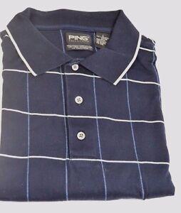 Ping Golf Shirt Large L 100% Mercerized Pima Cotton Navy Blue with Windowpane