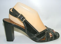Dexter Women's Black Size 10 M Slingback Dress Casual Straps Heels Leather Shoes
