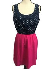 NWT Maurices Medium Polka Dot Summer Dress Sleeveless Pink Skirt Black/White Top