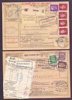 Dt. Reich 1930 - 2 Paketkarten in die Schweiz mit interessant. Frankaturen (378)