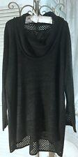 NEW~ Plus Size 3X Black Cowl Neck Cupio Tunic Top Sweater $78