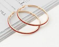 """Red Crystal Rhinestone Gold Hoop 2.5"""" Earrings Boho Gypsy Hoops"""