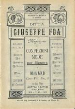 Stampa antica pubblicità GIUSEPPE FOA' moda donna Milano 1889 Old antique print