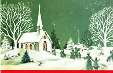 UNUSED Vintage Christmas Card: : Victorian Church Scene