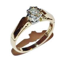 Vintage 18ct Yellow Gold & Illusion Set Diamond Solitaire Ring - UK Size: J 1/2