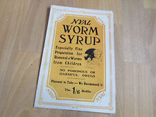 NYAL Worm Syrup for CHILDREN Original c 1920's Chemists Advertising Showcard