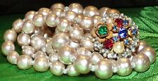 SIGN MIRIAM HASKELL 2 STRAND BAROQUE PEARL RUBY EMERALD RHINESTONE VTG.NECKLACE