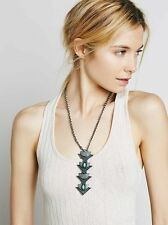 NEW FREE PEOPLE MEGA METAL PENNANT NECKLACE TURQUOISE TRIBAL