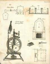 1802  Mr Antiss Improved Spinning Wheel Steam Kitchen Copperplate