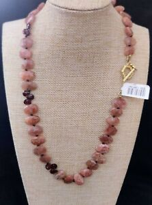 Rarities Faceted Sunstone and Garnet 22k Goldplated Toggle Necklace NWT