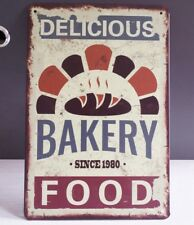 Delicious Bakery Food Retro Tin Signs Metal Plate Kitchen Wall Decor Hainging