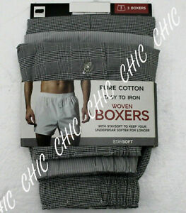 Ex M & S Mens 3 Pack Pure Cotton Woven Boxers Underwear Button Fly Grey Mix
