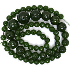 "6-14mm canada green jade round beads 18"" strand"