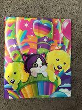 LISA FRANK Puppy & Kitten Colorful Rainbow 90's School Binder VTG