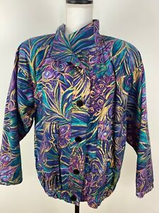 Vintage GDT Too Women Windbreaker 90s 80s Metallic  Colorful All Over - One Size