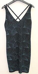 Glitter Detail Strappy Party/Clubbing  Body Con Dress Black /Blue BNWT  UK 14