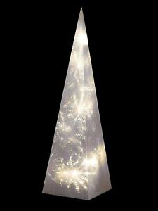 Christmas Rotating Effect Pyramid 60cm Tall 18 Warm White LEDs Table Decoration