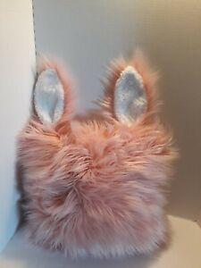 "Rabbit Faux Fur Throw Pillow Pink Pillowfort Fuzzy Kids Teens Room Cozy 16""X16"""