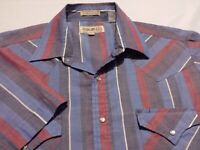 Sheplers Mens Large Short Sleeve Pearl Snap Multicolor Striped Western Shirt