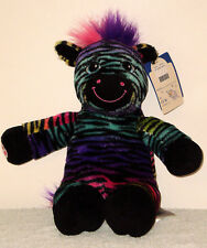 Build a Bear Colorful Rainbow Striped Black Zebra 16in. Stuffed Plush Toy Animal