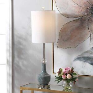 "PIERS XXL 33"" MOTTLED CERAMIC BUFFET TABLE LAMP UTTERMOST CRYSTAL DETAIL 29698"