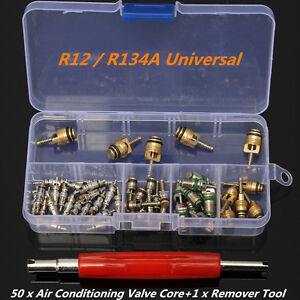 50 A/C Core Valves R12/R134A Automotive Air Conditioning Assortment+Remover Tool