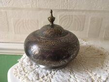Vintage Trinket Pot White Metal Enameled & Overlaid With Copper Gilding