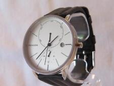 """Men's Skagen """"HAGEN"""" Silvertone Watch Leather Band SKW6242 Month/Day/24 Hr"""