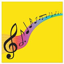"LOVE OF MUSIC musical notes car bumper sticker 4"" x 4"""