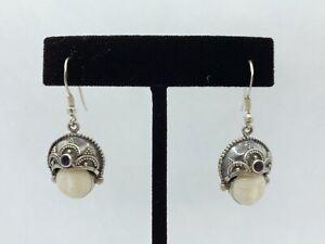 VTG 925 Sterling Silver Amethyst Balinese Goddess Bovine Bone Earrings 7g #bau