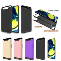 For Samsung Galaxy A90/A80 Brushed Armor Rubber Hybrid Phone Case+Tempered Glass