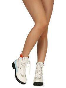 Women Colorblock Lace-Up Lug Flatform Combat Boot 18704