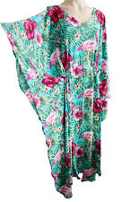 Flamingo PRINT Cover up Kaftan Beach Dress Boho Size 18 20 22 24 26 28 30 new
