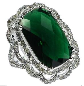 Emerald Simulated Cocktail Dinner Rhodium Overlay Ladies Ring Size 5