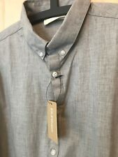 DKNY pure NEW Light Grigio Smart Camicia Rrp £ 143 M TAG colletto button-down