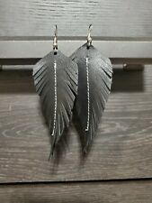 Handmade GENUINE Leather Feather Earrings Black