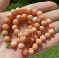 """ESTATE VINTAGE PINK CORAL BEAD 18k  GOLD CLASP 16"""" NECKLACE, 8mm Beads,36 grams"""