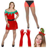 ADULTS VELOUR ELF COSTUME HAT TIGHTS GLOVES XMAS CHRISTMAS SANTA FANCY DRESS