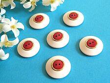 "074C / Superb Big Antique Buttons "" Red Gold "" Set of 6 Buttons Era 1970"