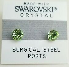 Light Green Round Stud Earrings 5mm Crystal Circle Made with Swarovski Elements