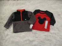 Carter's Disney Mickey Baby Boys 2 Piece 12 Mo Sweater Tops Fleece Gray Red NWT
