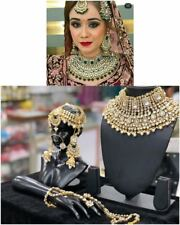 Gold Plated Kundan Bridal Jewelry Necklace Set Bollywood Indian Chandbali