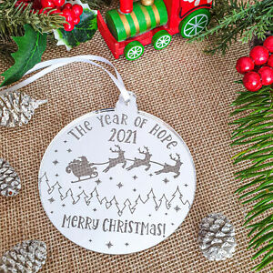 Silver 2021 Christmas Tree Decoration Bauble Traditional Xmas Ornament