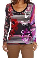 Desigual Damen Pink Red Butterfly Geometric Knit Top Cult T-shirt Size L VGC