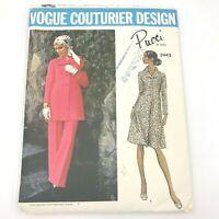 Vintage Vogue Couturier Design Emilio Pucci 2443 Sewing Pattern Dress Tunic PT2