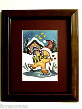 GINGERBREAD MAN  PICTURE  CHRISTMAS SANTA CLAUS MATTED FRAMED 8X10