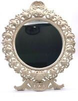 Antique Ornate Victorian Cast Iron Standing Easel Back Vanity Mirror Shabby Chic