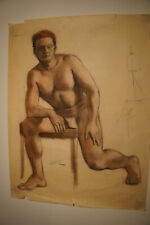 Vintage Midcentury Erotica Vtg Gay Interest Nude Male Underwear Naked Man Art g2